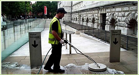 Cleaning paving at The Tate - London chewing gum removal