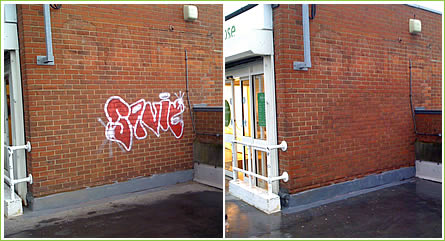 Graffiti removed from a Waitrose supermarket